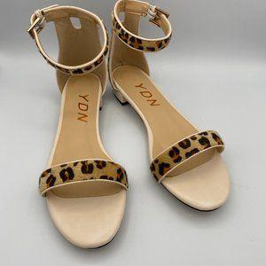 YDN Sandals Open Toe Ankle Strap Leopard Pattern